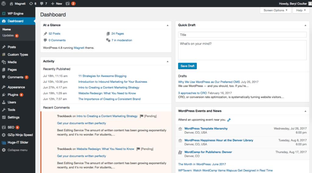 Wordpress cms dashboard