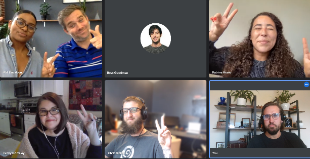 A screenshot of Growth Marketing Firm during a remote, weekly, team meeting on the Google Meet platform