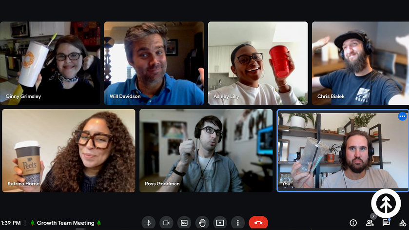 A screenshot of one of the weekly Growth Google Meet remote meetings with the whole team.
