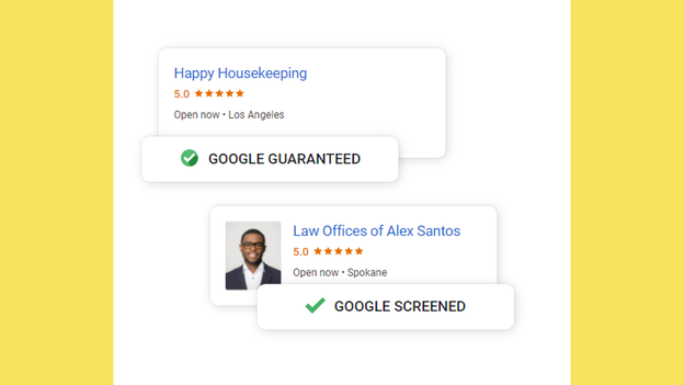 A screenshot of both the Google Guaranteed icon and a Google Screened icon for businesses using Google Local Services Ads
