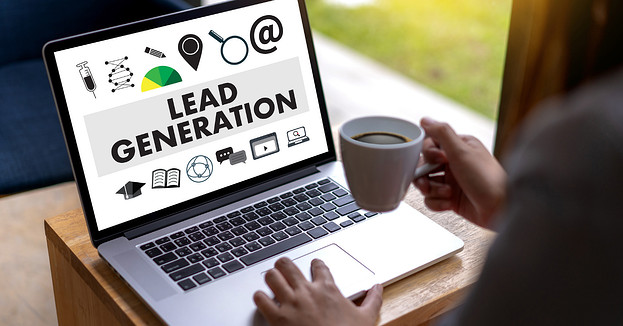 A laptop computer opened to an image displaying the words lead generation