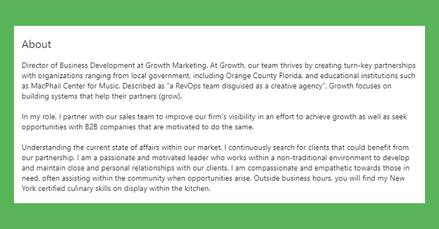 LinkedIn Summary from Director of Business Development at Growth Marketing Firm Will Davidson