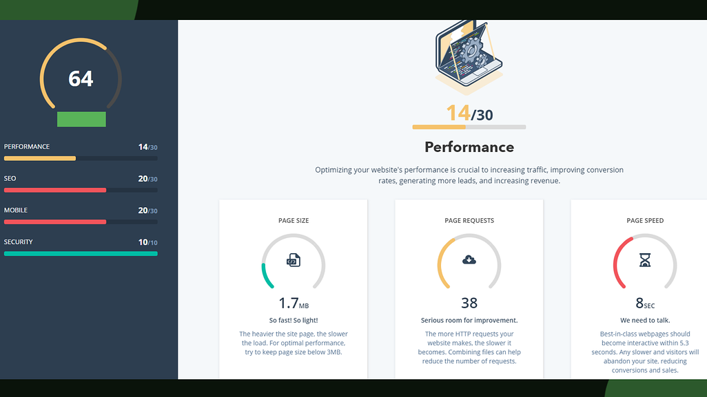 Screenshot from the Growth Marketing Firm website grader tool's reading on a website's performance.