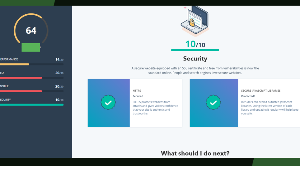 Screenshot from the Growth Marketing Firm website grader tool's reading on a website's security.