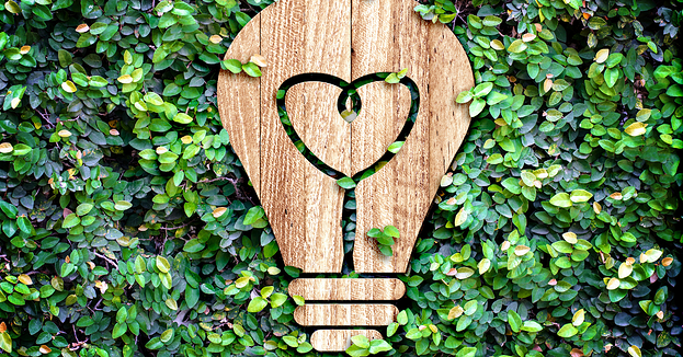A wooden cutout image of a lightbulb on a bed of green ivy